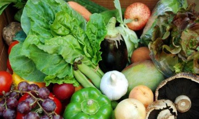 Fresh organic fruit and vegetables